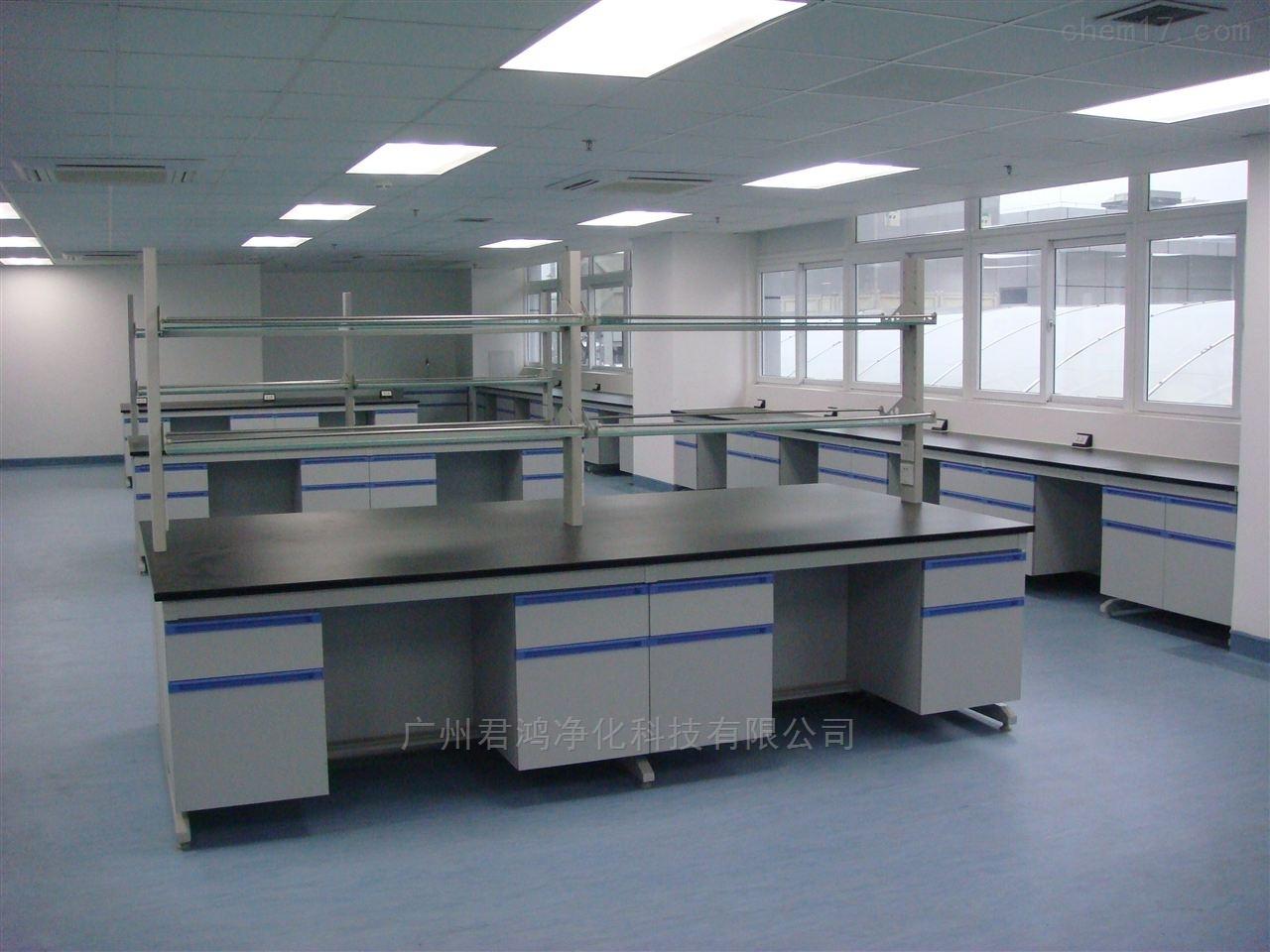 广东湛江市现代实验室一字拉手钢木实验台