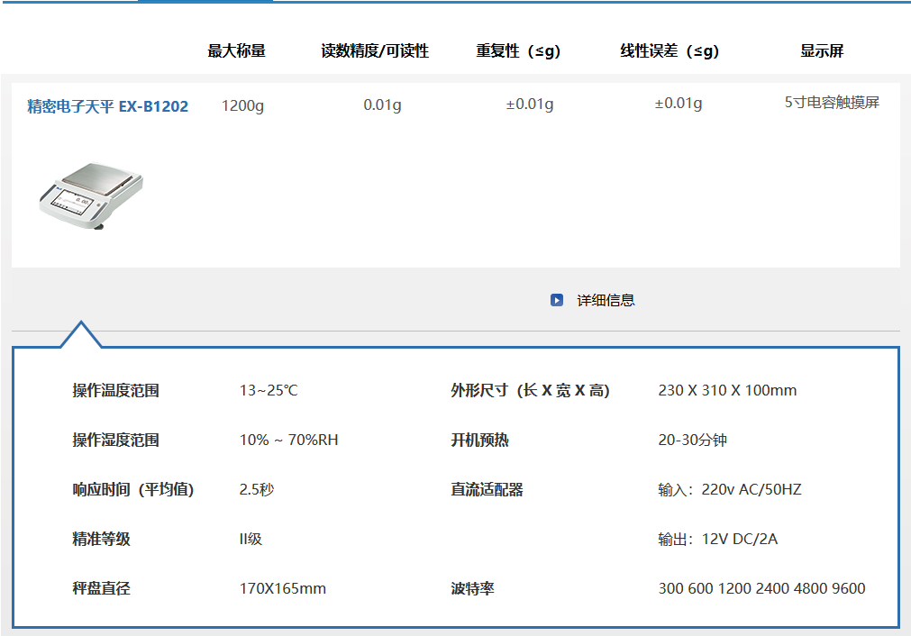 EX-B系列德安特标准天平EX-B1202
