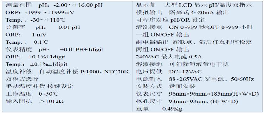 PC-3110技术参数