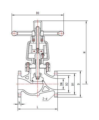 低压法兰式截止阀结构图